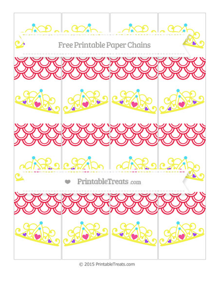 Free Amaranth Pink Fish Scale Pattern Princess Tiara Paper Chains