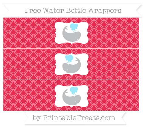 Free Amaranth Pink Fish Scale Pattern Whale Water Bottle Wrappers