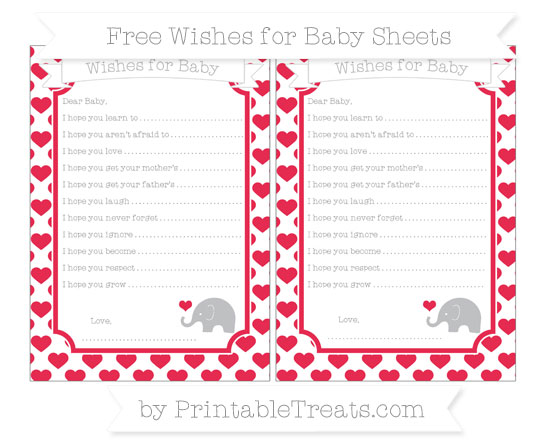 Free Amaranth Pink Heart Pattern Baby Elephant Wishes for Baby Sheets
