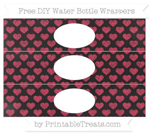 Free Amaranth Pink Heart Pattern Chalk Style DIY Water Bottle Wrappers