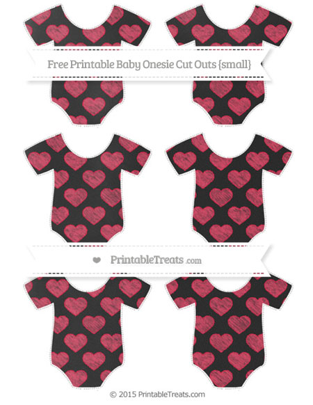 Free Amaranth Pink Heart Pattern Chalk Style Small Baby Onesie Cut Outs