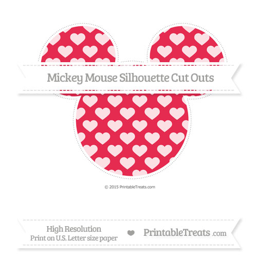 Free Amaranth Pink Heart Pattern Extra Large Mickey Mouse Silhouette Cut Outs
