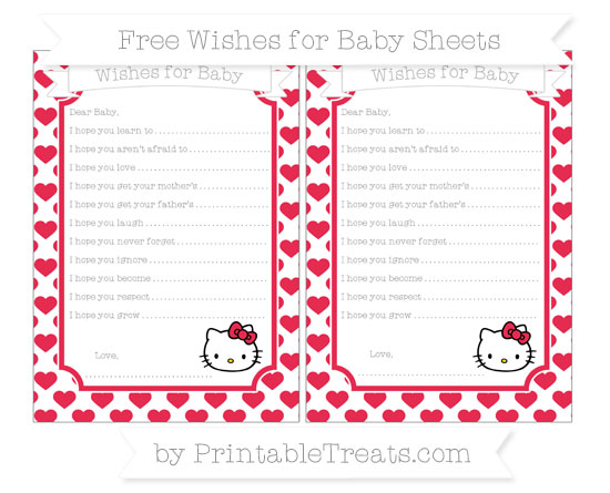Free Amaranth Pink Heart Pattern Hello Kitty Wishes for Baby Sheets