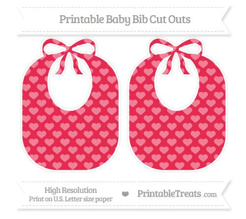 Free Amaranth Pink Heart Pattern Large Baby Bib Cut Outs