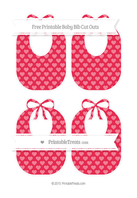 Free Amaranth Pink Heart Pattern Medium Baby Bib Cut Outs