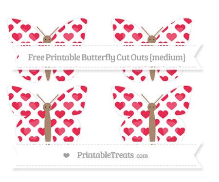 Free Amaranth Pink Heart Pattern Medium Butterfly Cut Outs