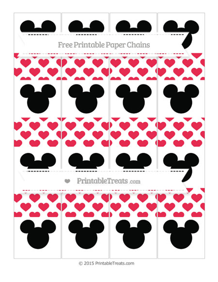 Free Amaranth Pink Heart Pattern Mickey Mouse Paper Chains