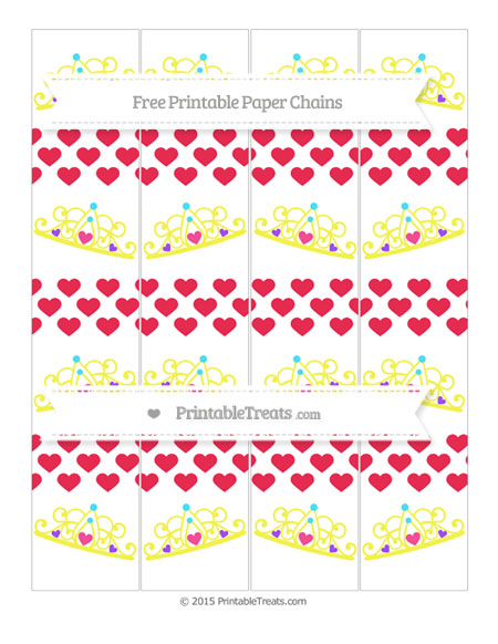 Free Amaranth Pink Heart Pattern Princess Tiara Paper Chains