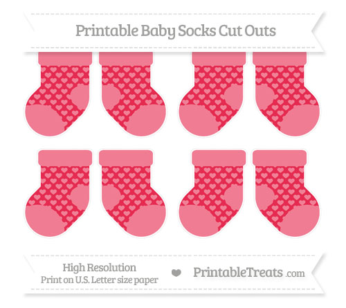 Free Amaranth Pink Heart Pattern Small Baby Socks Cut Outs