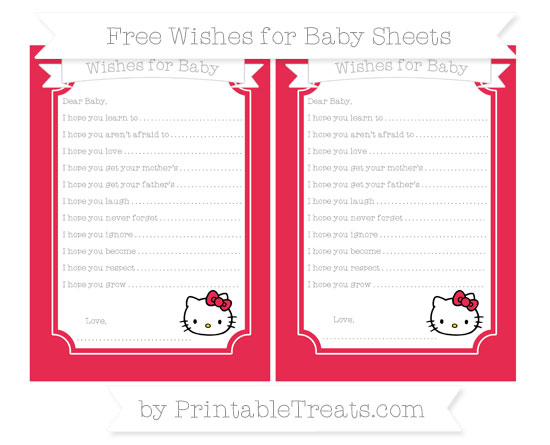Free Amaranth Pink Hello Kitty Wishes for Baby Sheets