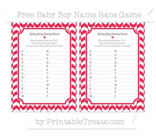 Free Amaranth Pink Herringbone Pattern Baby Boy Name Race Game