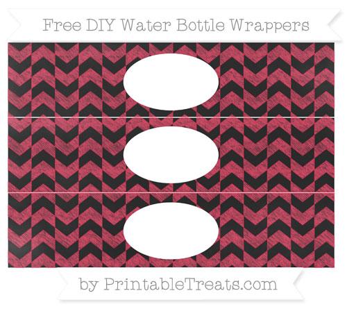 Free Amaranth Pink Herringbone Pattern Chalk Style DIY Water Bottle Wrappers