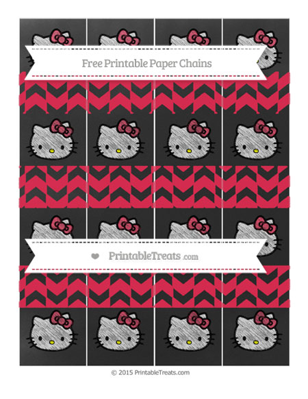 Free Amaranth Pink Herringbone Pattern Chalk Style Hello Kitty Paper Chains