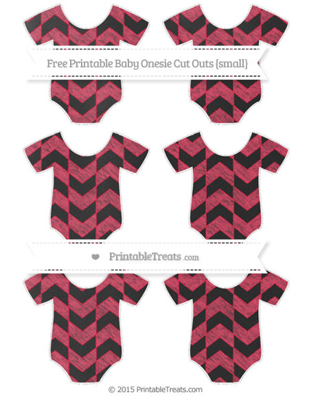 Free Amaranth Pink Herringbone Pattern Chalk Style Small Baby Onesie Cut Outs