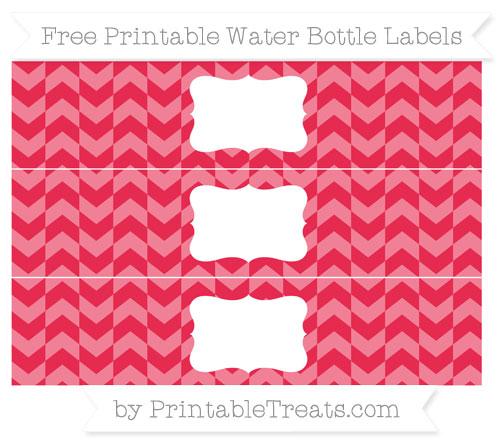 Free Amaranth Pink Herringbone Pattern Water Bottle Labels