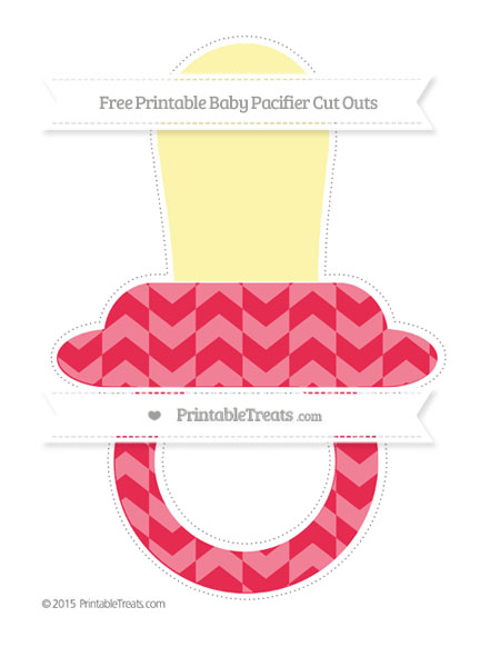 Free Amaranth Pink Herringbone Pattern Extra Large Baby Pacifier Cut Outs