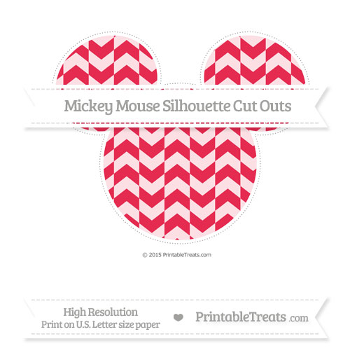 Free Amaranth Pink Herringbone Pattern Extra Large Mickey Mouse Silhouette Cut Outs
