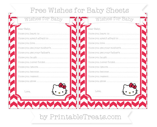 Free Amaranth Pink Herringbone Pattern Hello Kitty Wishes for Baby Sheets