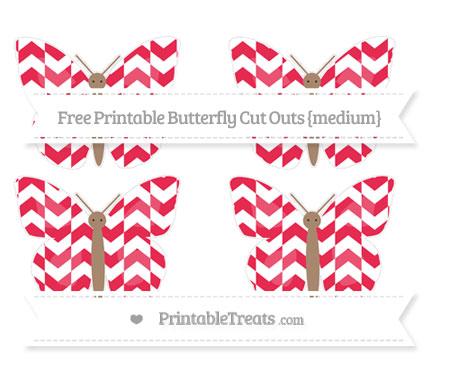 Free Amaranth Pink Herringbone Pattern Medium Butterfly Cut Outs