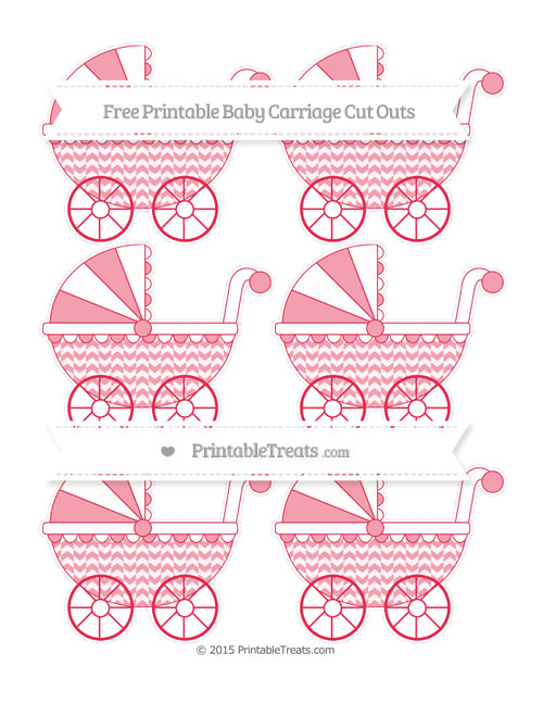 Free Amaranth Pink Herringbone Pattern Small Baby Carriage Cut Outs