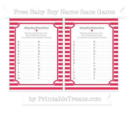 Free Amaranth Pink Horizontal Striped Baby Boy Name Race Game