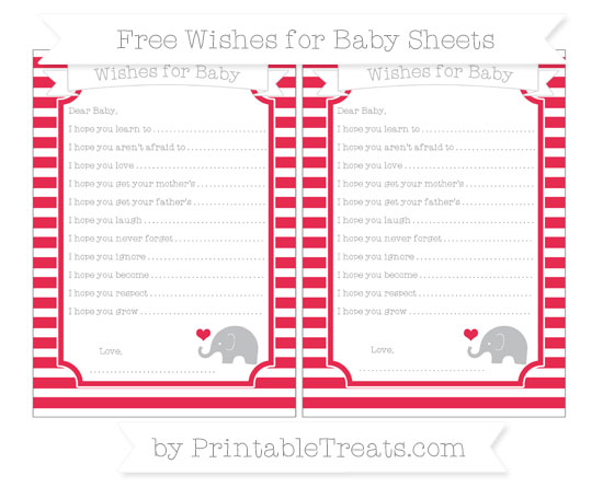 Free Amaranth Pink Horizontal Striped Baby Elephant Wishes for Baby Sheets