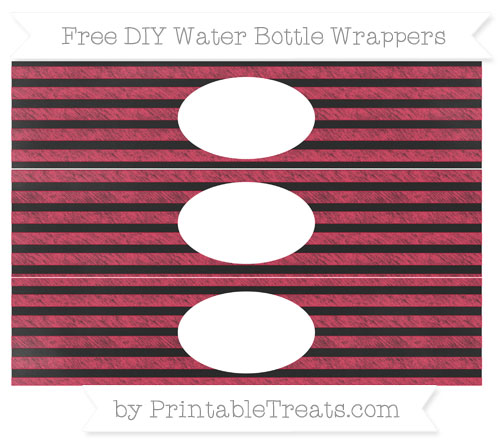 Free Amaranth Pink Horizontal Striped Chalk Style DIY Water Bottle Wrappers