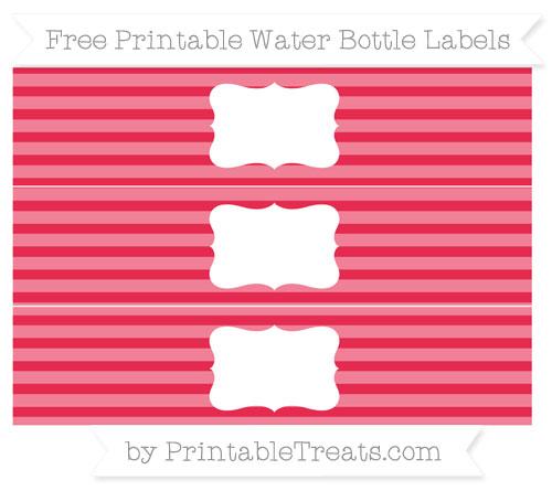 Free Amaranth Pink Horizontal Striped Water Bottle Labels
