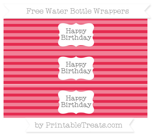 Free Amaranth Pink Horizontal Striped Happy Birhtday Water Bottle Wrappers