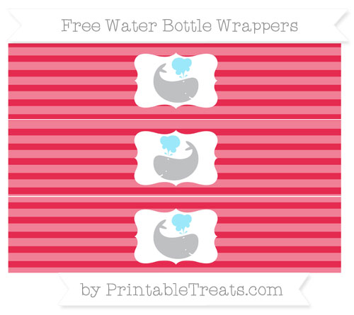 Free Amaranth Pink Horizontal Striped Whale Water Bottle Wrappers