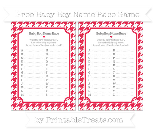 Free Amaranth Pink Houndstooth Pattern Baby Boy Name Race Game