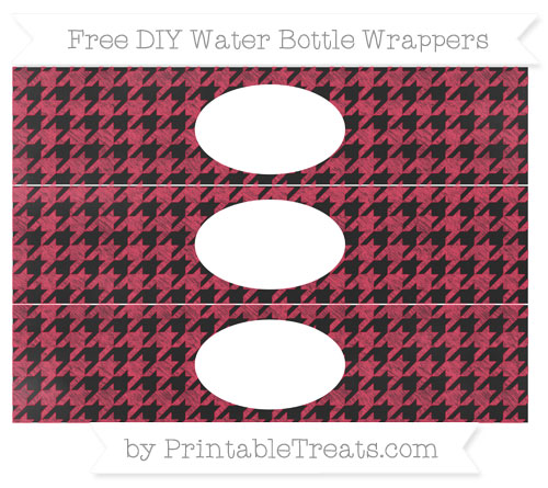Free Amaranth Pink Houndstooth Pattern Chalk Style DIY Water Bottle Wrappers