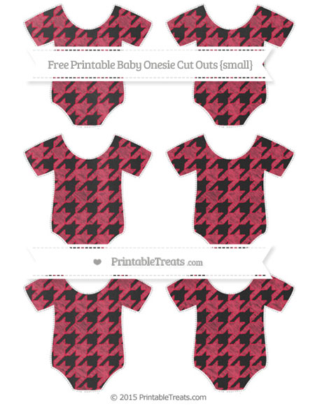 Free Amaranth Pink Houndstooth Pattern Chalk Style Small Baby Onesie Cut Outs