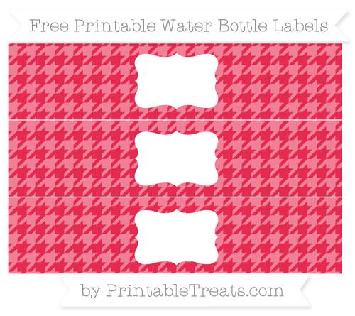 Free Amaranth Pink Houndstooth Pattern Water Bottle Labels