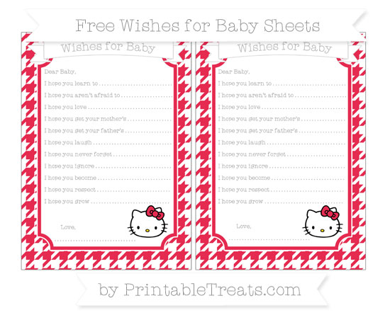 Free Amaranth Pink Houndstooth Pattern Hello Kitty Wishes for Baby Sheets