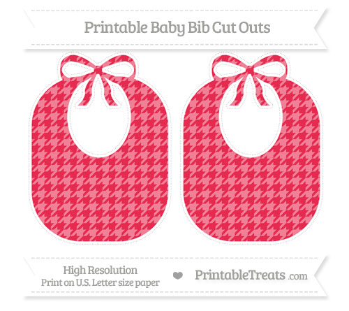 Free Amaranth Pink Houndstooth Pattern Large Baby Bib Cut Outs