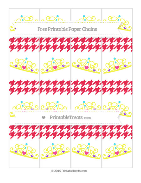 Free Amaranth Pink Houndstooth Pattern Princess Tiara Paper Chains