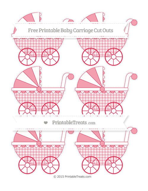 Free Amaranth Pink Houndstooth Pattern Small Baby Carriage Cut Outs