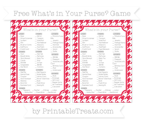 Free Amaranth Pink Houndstooth Pattern What's in Your Purse Baby Shower Game
