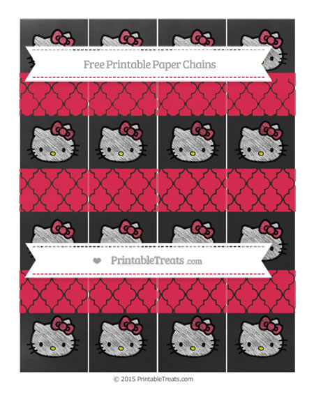 Free Amaranth Pink Moroccan Tile Chalk Style Hello Kitty Paper Chains