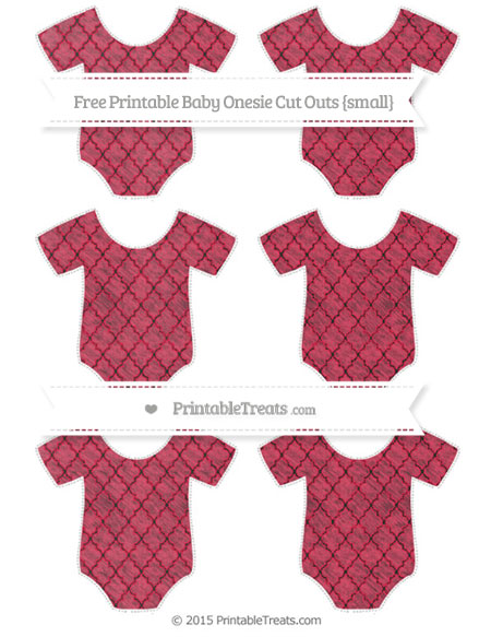 Free Amaranth Pink Moroccan Tile Chalk Style Small Baby Onesie Cut Outs