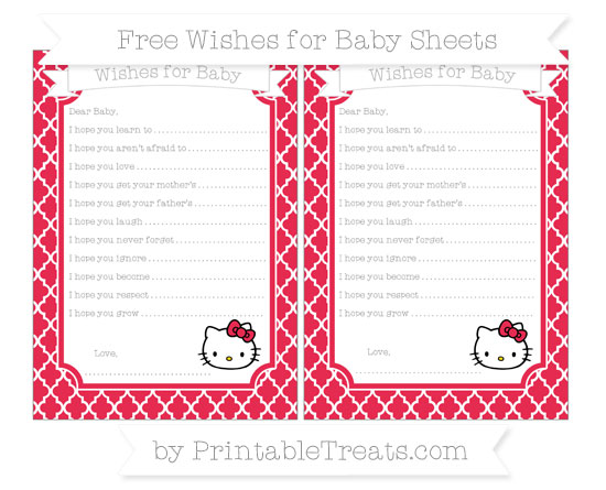 Free Amaranth Pink Moroccan Tile Hello Kitty Wishes for Baby Sheets
