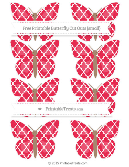 Free Amaranth Pink Moroccan Tile Small Butterfly Cut Outs
