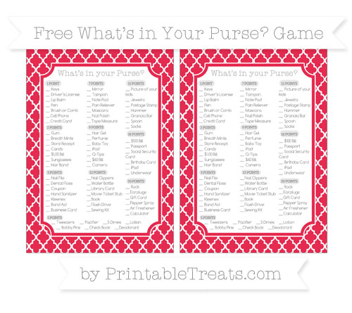 Free Amaranth Pink Moroccan Tile What's in Your Purse Baby Shower Game