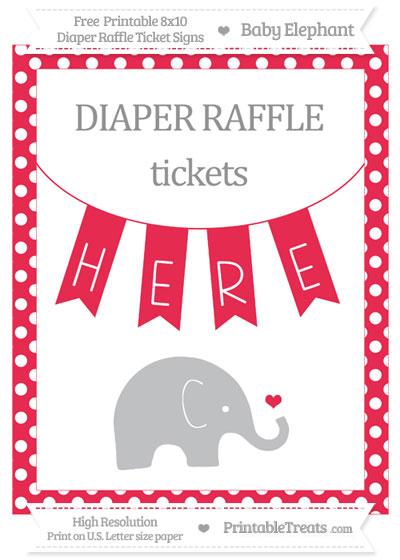 Free Amaranth Pink Polka Dot Baby Elephant 8x10 Diaper Raffle Ticket Sign