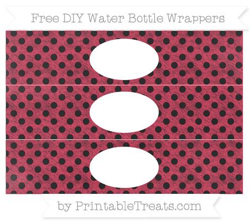 Free Amaranth Pink Polka Dot Chalk Style DIY Water Bottle Wrappers