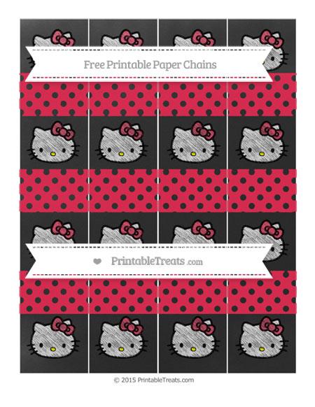 Free Amaranth Pink Polka Dot Chalk Style Hello Kitty Paper Chains