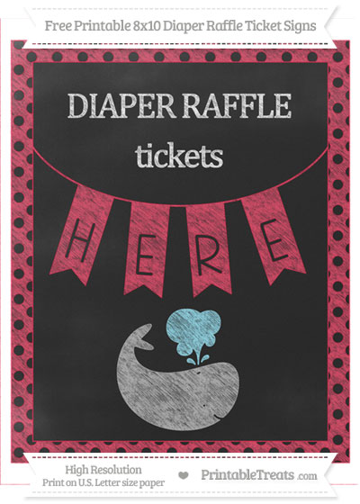Free Amaranth Pink Polka Dot Chalk Style Whale 8x10 Diaper Raffle Ticket Sign
