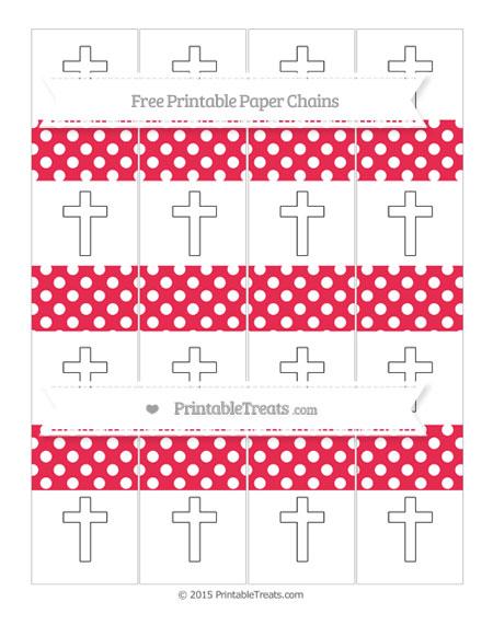 Free Amaranth Pink Polka Dot Cross Paper Chains