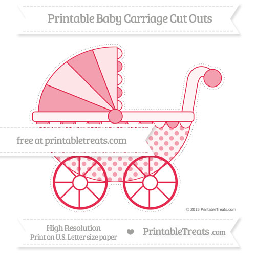Free Amaranth Pink Polka Dot Extra Large Baby Carriage Cut Outs